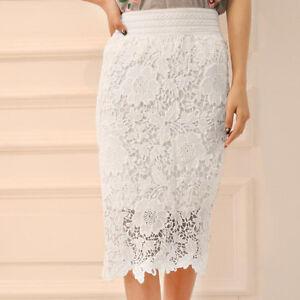 Elastic Lace Waist Hollow Women Knee Party High length Skirt waIZx5Txq