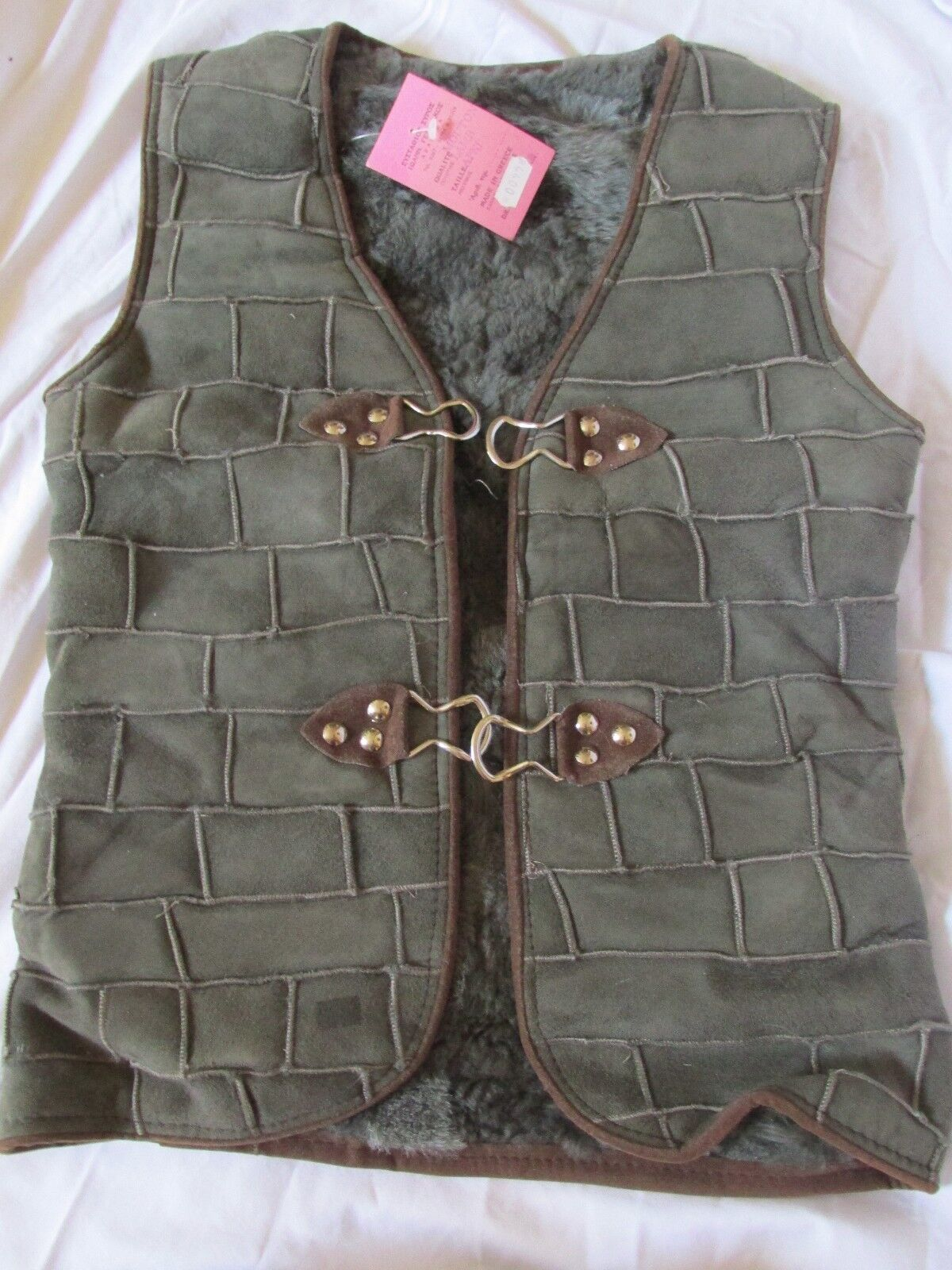 New Women's Mouton Lamb Apni Fur Vest Suede Leather Olive Green Greece Small