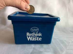 Niagara-Falls-Canada-Recycling-Promotional-Item-BLUE-BOX-bank-with-Lid-3-x-4-5-034