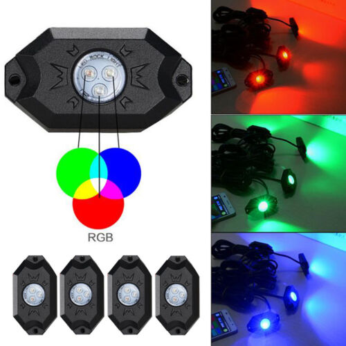 4x RGB LED Rock Lights Wireless Bluetooth Music Multi Color Offroad US