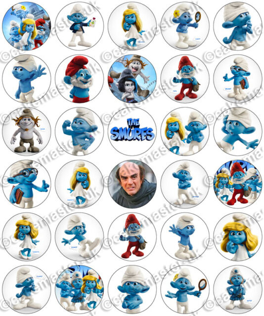 30 x Smurfs Animated Movie Party Edible Rice Wafer Paper Cupcake Toppers