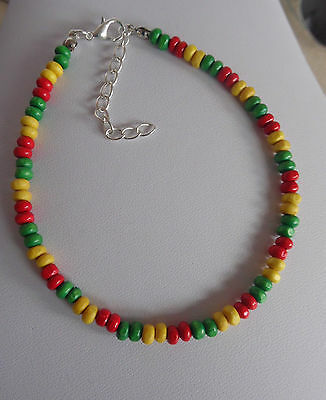 wood bead anklet  RASTA COLOURS ankle chain RED YELLOW GREEN