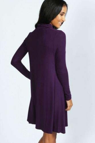 Women/'s Ladies Turtleneck Polo Roll Neck Long Sleeve Swing Skater Dress Top Plus