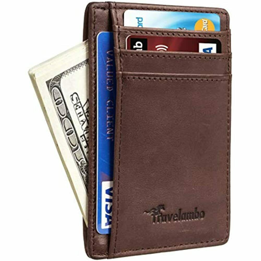 Travelambo Front Pocket Minimalist Leather Slim Wallet RFID Blocking Medium P)