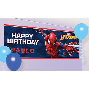 Spiderman-Feliz-Cumpleanos-banner-para-personalizar-Fiesta-Decoracion-Banderines-Cartel
