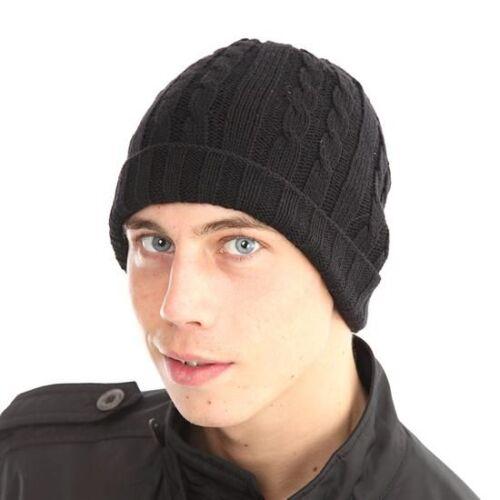 Negro Unisex de punto trenzado de esquí Sombrero