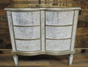 Image Is Loading Sparkly Antique Silver Crackle Mosaic Mirrored Furniture  Set