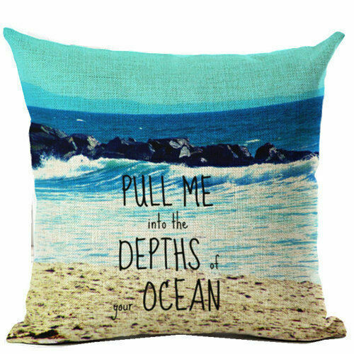 "18/"" en lin naturel Ocean Taie D/'oreiller Canapé Throw Cushion Cover Home Decor"