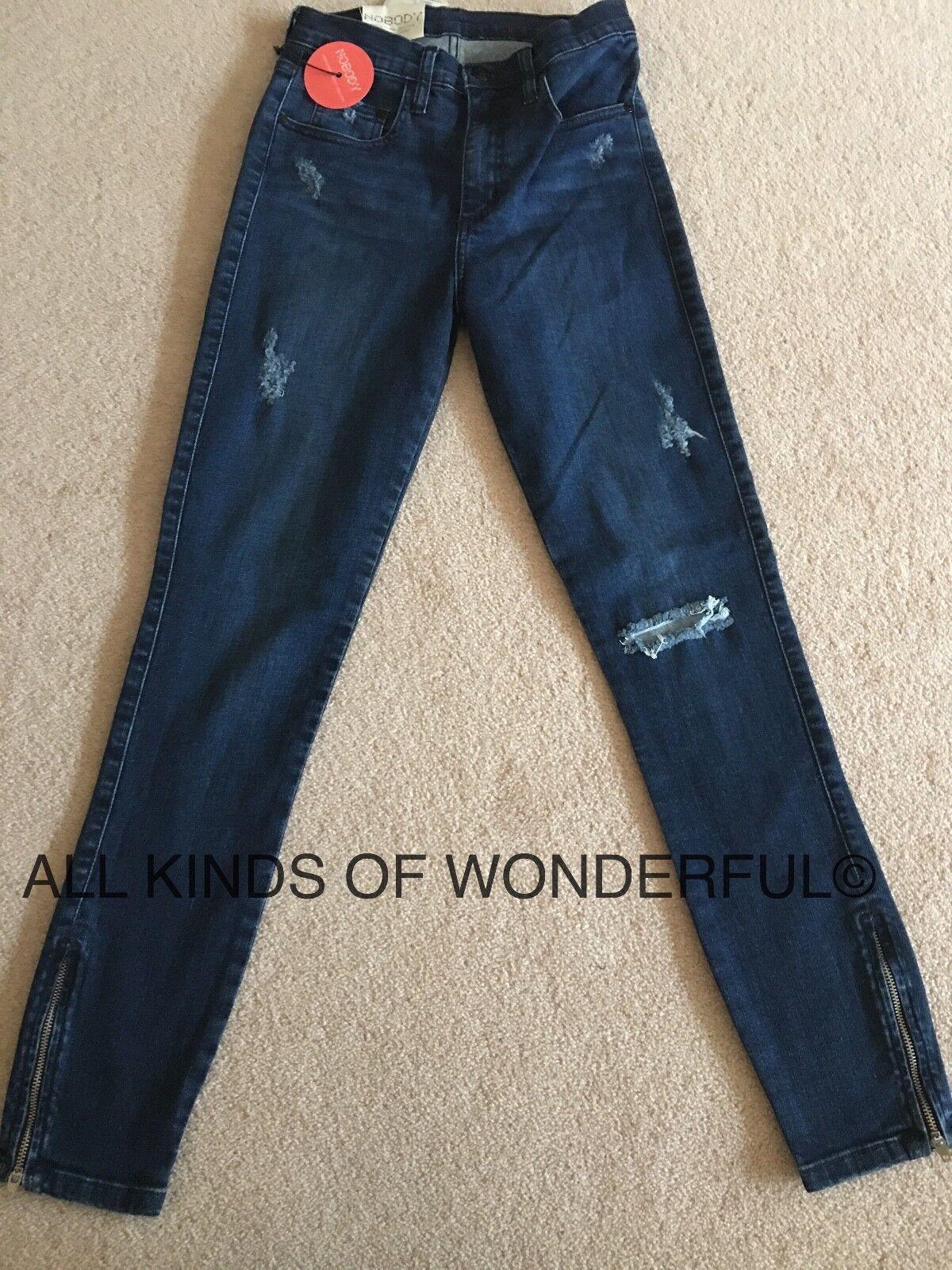 Nobody Cult Skinny With Zips High Rise in Vanity (DK bluee) RRP BNWT