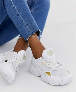 Estrecho Frugal hogar  Adidas Originals Falcon Leather White /Gold Women's Running Casual Shoes  EE8838 | eBay