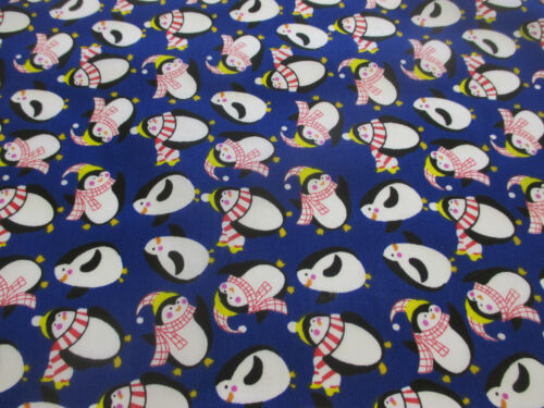 Royal Blue Penguin Penguins Christmas Printed Polycotton Fabric