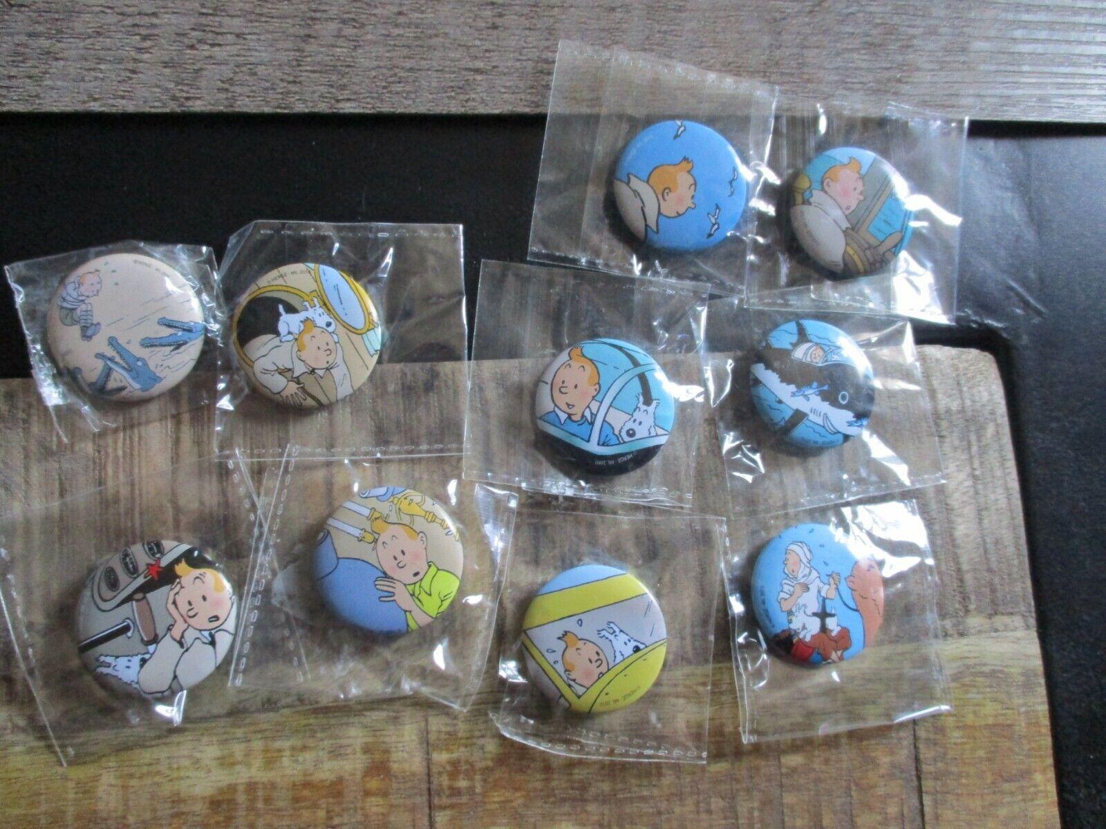 Tintin-Lot 10 badges brooch pin-Theme Tintin -new sub Hergé-cello 2010