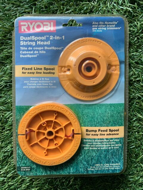HOMELITE Ryobi Dual spool 2 In1 String Head Gas Trimmer Bump Feed /& FIXED LINE