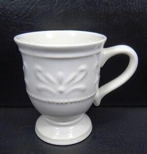 JCP Home Chris Madden Felice IvoryFooted Mugs Embossed | eBay