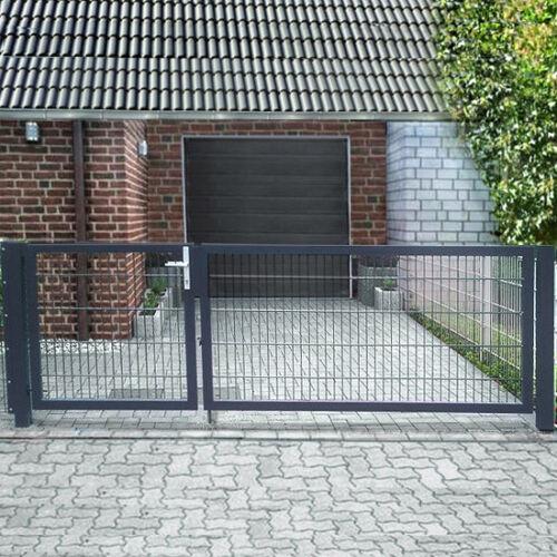 Einfahrtstor 2-flügelig asymmetrisch Grau Tor Doppeltor Gartentor 400cm x 143cm
