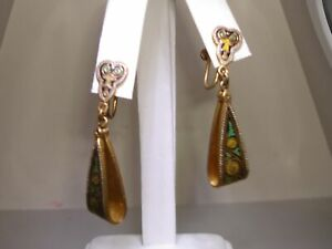 RARE-VINTAGE-ESTATE-CHINESE-ENAMELED-BRASS-DANGLE-SCREW-BACK-EARRINGS