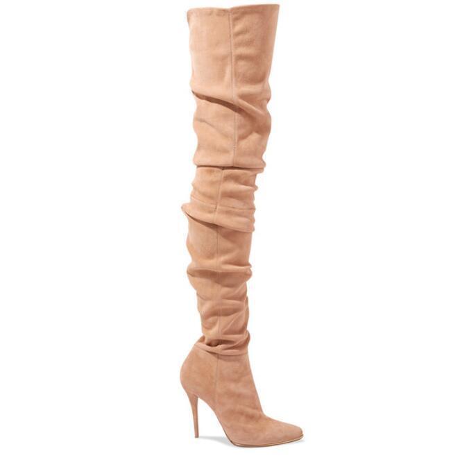 Mujer Botas De Gamuza cálido alto del Delgado muslo Delgado del Runway Puntera en Punta Zapatos De Taco De Lujo 8a0292