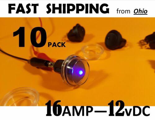 - 16 amp Blue LED switch 10 pack Blue LED light waterproof BOAT - 12 volt