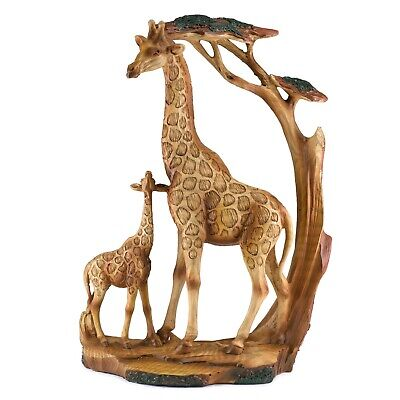 Giraffes Mother /& Baby Faux Carved Wood Look Figurine Resin 9 Inch High New