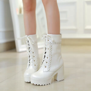 Womens-Chunky-Block-Heel-Ankle-Boots-Punk-Platform-Lace-up-Shoes-Mid-Calf-Boots