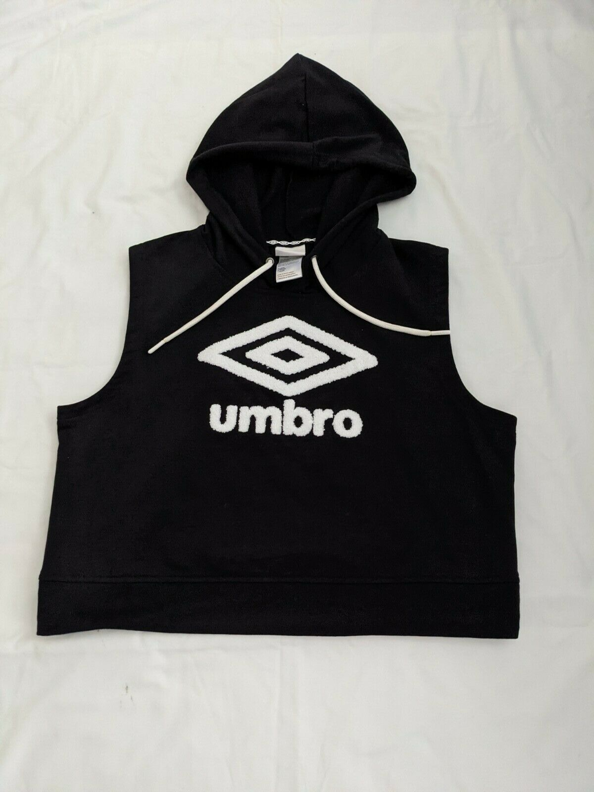 Umbro Women Black Sleeveless Crop Sweatshirt Hoodie - XL