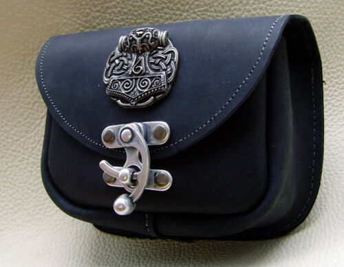 Gürteltasche Schwarz Leder Handarbeit Hüfttasche Nordgermanischer Thorshammer