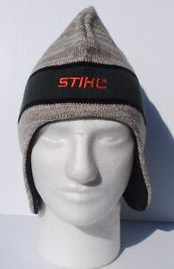 STIHL  Beanie Hat with ear flaps Cap  Grey / tan  w green and  orange