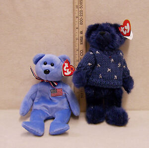 rare retired ty beanie babies collection orion blue sweater bear americana bear ebay. Black Bedroom Furniture Sets. Home Design Ideas