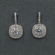 18k White Gold Plated Cubic Zirconia Cz Wedding Bridal Drop Dangle Earrings 8164