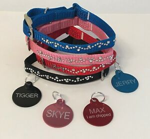 CAT-KITTEN-Nylon-COLLAR-Bling-Diamante-with-a-ENGRAVED-25mm-ID-TAG