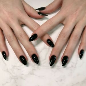 Pointed Dark Black Acrylic Designed Solid Color Fake Nail Full Cover ...