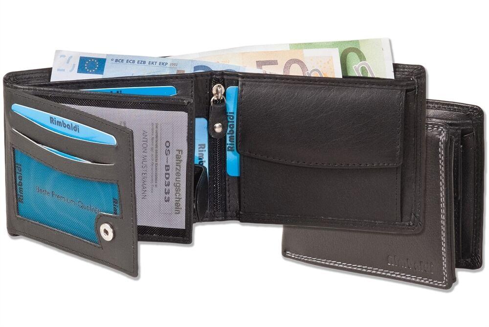 + Geldbörse Herrengeldbörse im Querformat aus hochwertigem Nappaleder schwarz