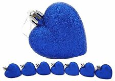 8 x 60mm Royal Blue Glitter Heart Shaped Christmas Tree Baubles (BA22)
