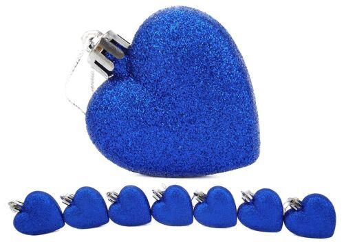 BA22 8 x 60 mm Bleu Royal Paillettes en forme de cœur arbre de Noël boules