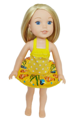 Yellow Dot Swimsuit with Swim Ring For Wellie Wisher Dolls