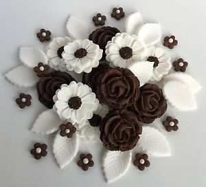 Chocolate brown white edible roses bouquet cake decoration flowers image is loading chocolate brown amp white edible roses bouquet cake mightylinksfo