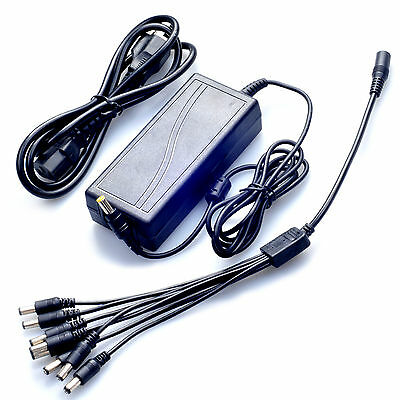 12V 5A 60W Power Supply Adapter + 8 Way DC Cable Splitter For LED Security CCTV