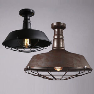 Rustic Barn Cage Ceiling Light Semi Flush