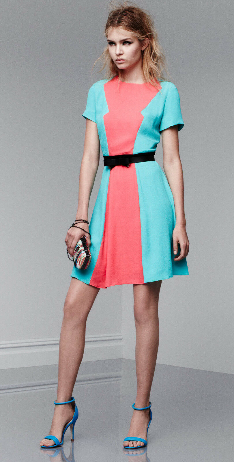 NEW  Prabal Gurung Short Sleeve Dress Calypso Coral Atlantis 4 6 8 10