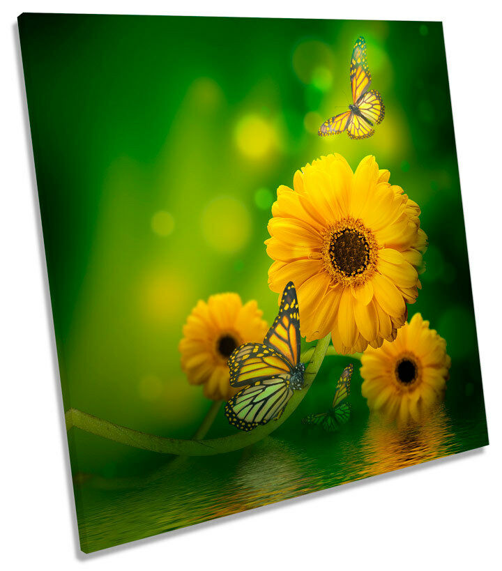 Floral Butterfly Flowers SQUARE CANVAS WALL ART Framed Print