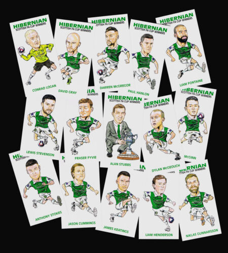 Hibernian FC Hibs 2016 Scottish FA Cup Winners CARICATURE carte Set