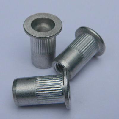 100 Stk Blindnietmuttern M8 Stahl Flachkopf gerändelt offen  0,5-3,0mm