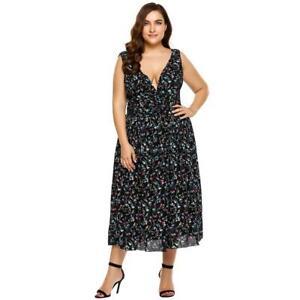 c1a7783e6 Women Deep V-Neck Sleeveless Floral Party Maxi Dress GFEQ 01 | eBay