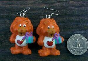 "CUSTOM MADE 1.5"" Dangle Drop Earring CARE BEAR COUSIN Pair Brave Heart Lion (2)"