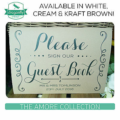 AMORE PERSONALISED Please Sign Our Guest Book WEDDING print rustic kraft A4 A3
