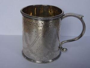 RARE-ANTIQUE-VICTORIAN-SCOTTISH-STERLING-SILVER-MUG-CUP-HALLMARKED-EDINBURGH