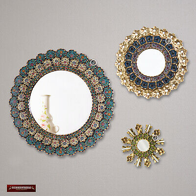 Round Mirror For Wall Decor Set 3 Sunburst Mirrors Decorative Peru Gold Framed Ebay