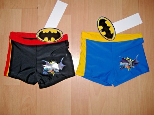 BOYS BATMAN SWIMMING BOXERS SWIM TRUNKS BLACK RED BLUE AGES 2 3 4 5 6 7 8