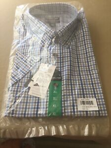 Kirkland Signature Men/'s Casual Shirt Large Blue Plaid Non-iron Short Sleeve