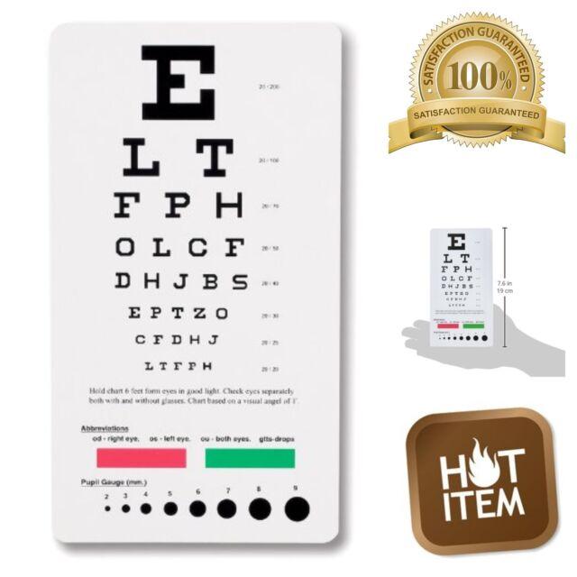 Prestige Medical Snellen Mini Pocket Eye Chart Plastic Eye Vision